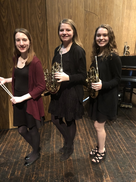 Morgan Hellyer, percussion; Arielle Roth, French Horn; Meaghan Dahna, French horn