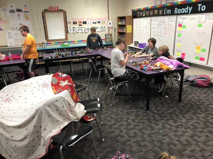 6th graders enjoyed fort making and playing with farm equipment.